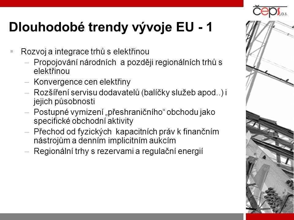 Dlouhodobé trendy vývoje EU - 1  Rozvoj a integrace trhů s elektřinou –Propojování národních a později regionálních trhů s elektřinou –Konvergence ce