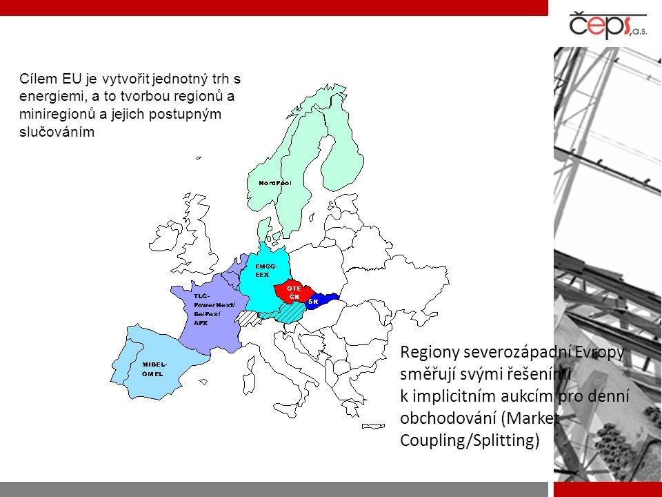 Cílem EU je vytvořit jednotný trh s energiemi, a to tvorbou regionů a miniregionů a jejich postupným slučováním Regiony severozápadní Evropy směřují s