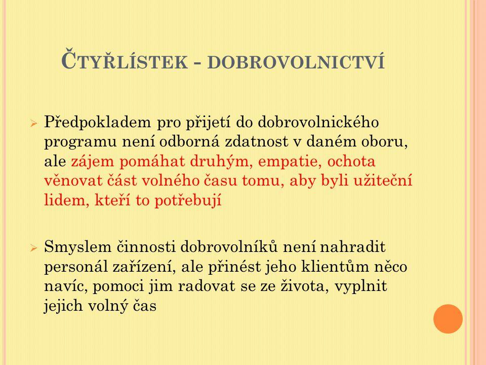 Č TYŘLÍSTEK - DOBROVOLNICTVÍ Vzorce a hodnoty dobrovolnictví v české společnosti na začátku 21.