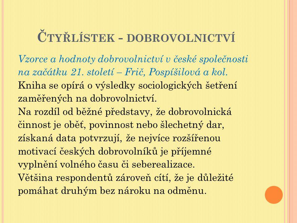 Č TYŘLÍSTEK - DOBROVOLNICTVÍ Autoři také upozorňují na fakt, že ne všichni obyvatelé ČR zaujímají k dobrovolnictví tak pozitivní postoj, jak by se mohlo zdát podle image dobrovolníků, který je sdílen v rámci komunity neziskového sektoru, nebo je prezentován v masmédiích.