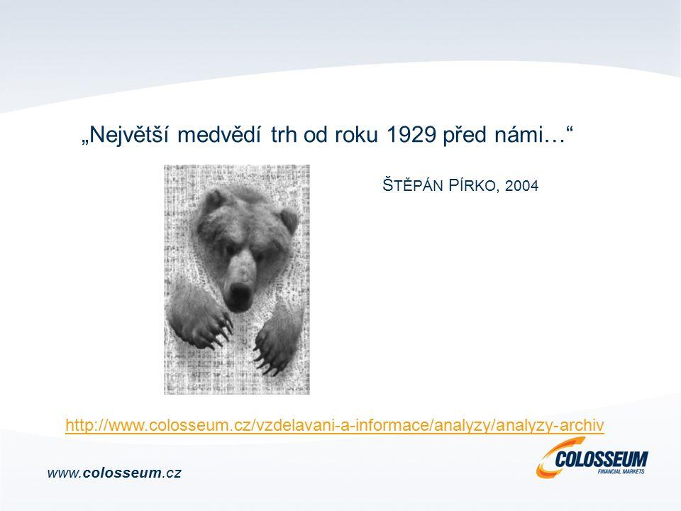 """""""Největší medvědí trh od roku 1929 před námi… Š TĚPÁN P ÍRKO, 2004 www.colosseum.cz http://www.colosseum.cz/vzdelavani-a-informace/analyzy/analyzy-archiv"""