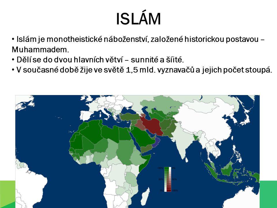 ISLÁM Islám je monotheistické náboženství, založené historickou postavou – Muhammadem.