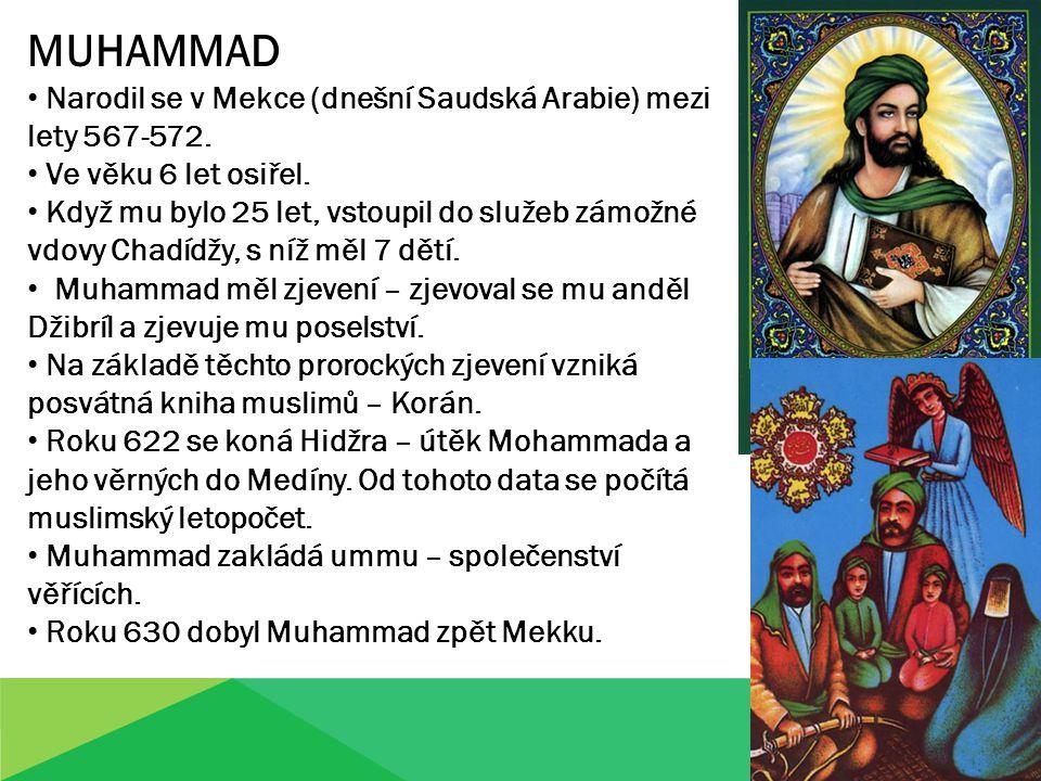 MUHAMMAD Narodil se v Mekce (dnešní Saudská Arabie) mezi lety 567-572.