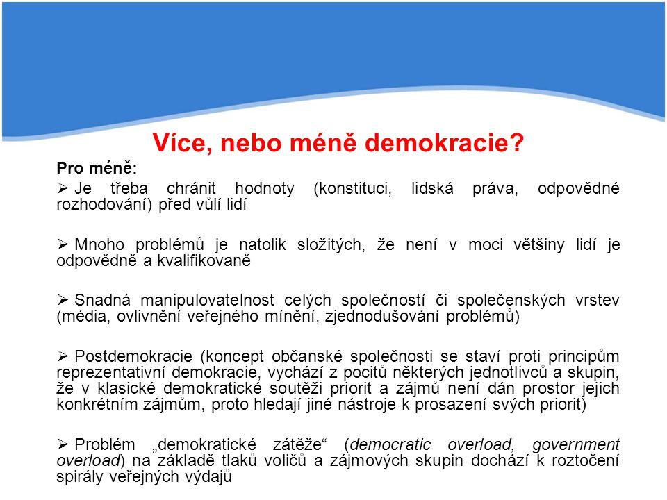 Více, nebo méně demokracie? Pro méně:  Je třeba chránit hodnoty (konstituci, lidská práva, odpovědné rozhodování) před vůlí lidí  Mnoho problémů je