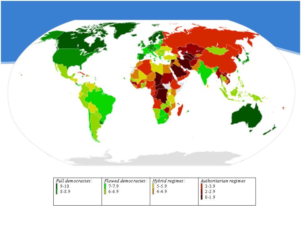 Politické režimy ve světě Typ režimuPočet zemíProcento zemí% světové populace Plné demokracie251511,3 Nefunkční demokracie 5331,737,1 Hybridní režimy3621,613,6 Autoritářské režimy5331,738