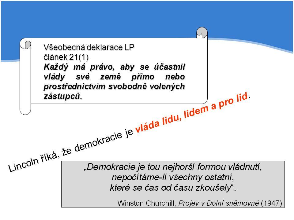 Lincoln říká, že demokracie je vláda lidu, lidem a pro lid. Všeobecná deklarace LP článek 21(1) Každý má právo, aby se účastnil vlády své země přímo n