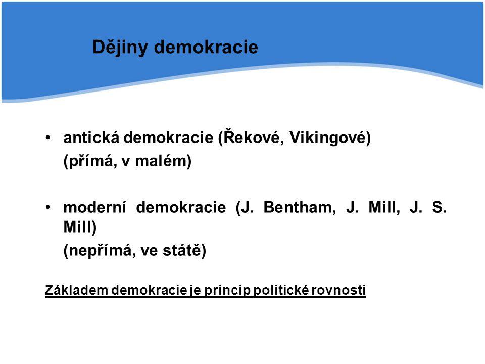 antická demokracie (Řekové, Vikingové) (přímá, v malém) moderní demokracie (J. Bentham, J. Mill, J. S. Mill) (nepřímá, ve státě) Základem demokracie j