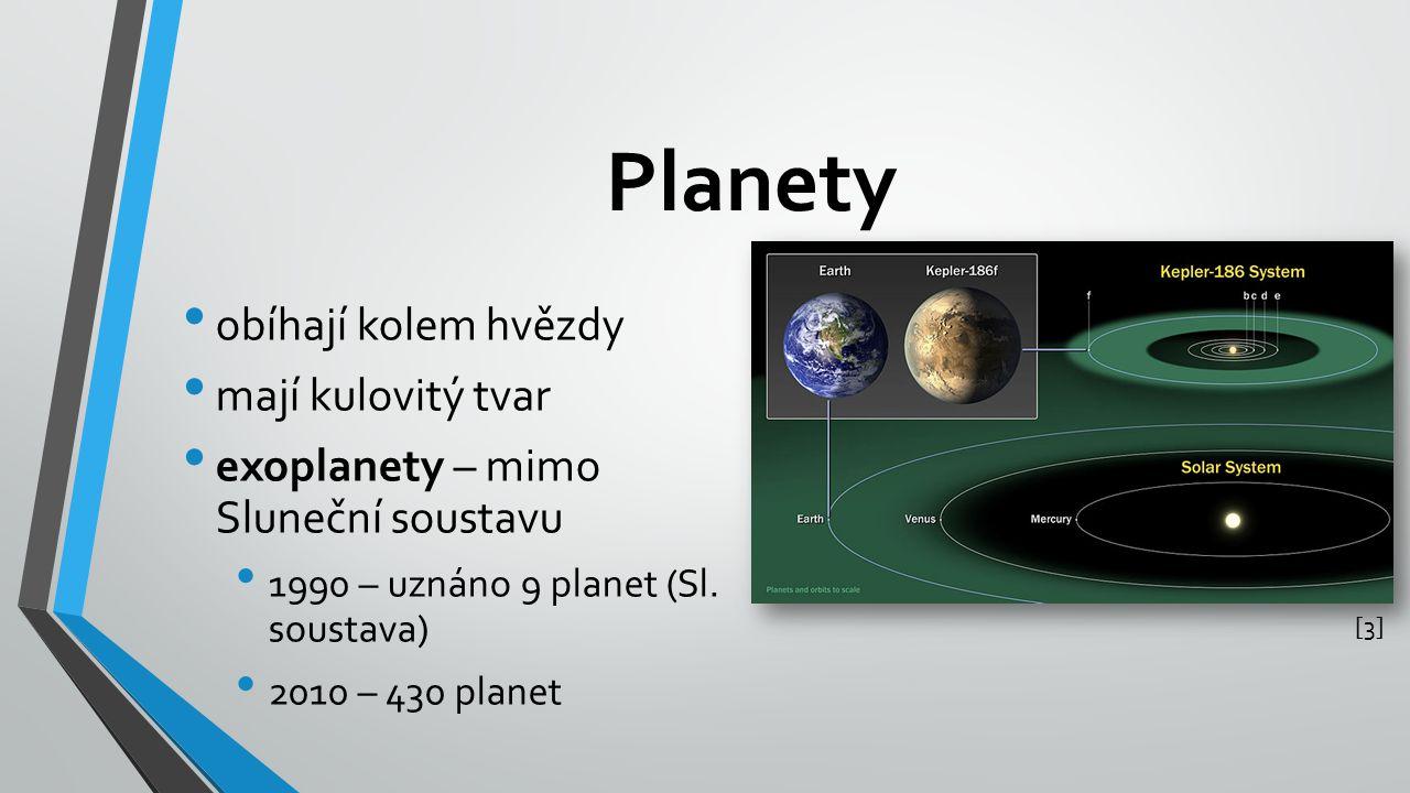 Planety obíhají kolem hvězdy mají kulovitý tvar exoplanety – mimo Sluneční soustavu 1990 – uznáno 9 planet (Sl. soustava) 2010 – 430 planet [3][3]