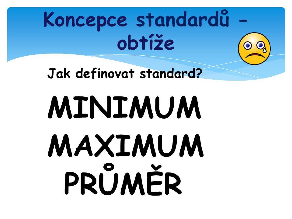 Koncepce standardů - obtíže Jak definovat standard MINIMUM MAXIMUM PRŮMĚR