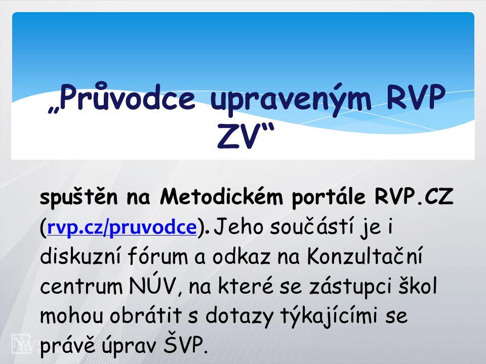 """"""" Průvodce upraveným RVP ZV spuštěn na Metodickém portále RVP.CZ (rvp.cz/pruvodce)."""