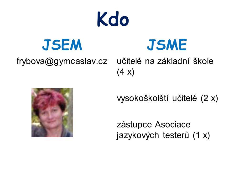 Kdo JSEM frybova@gymcaslav.cz JSME učitelé na základní škole (4 x) vysokoškolští učitelé (2 x) zástupce Asociace jazykových testerů (1 x)