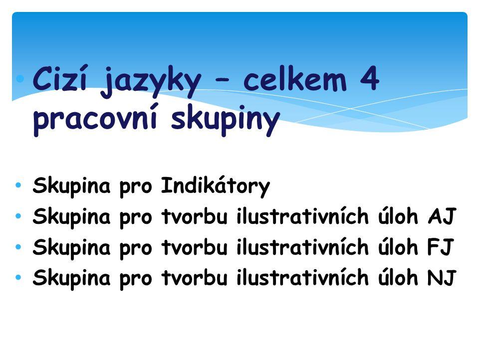 Cizí jazyky – celkem 4 pracovní skupiny Skupina pro Indikátory Skupina pro tvorbu ilustrativních úloh AJ Skupina pro tvorbu ilustrativních úloh FJ Skupina pro tvorbu ilustrativních úloh NJ