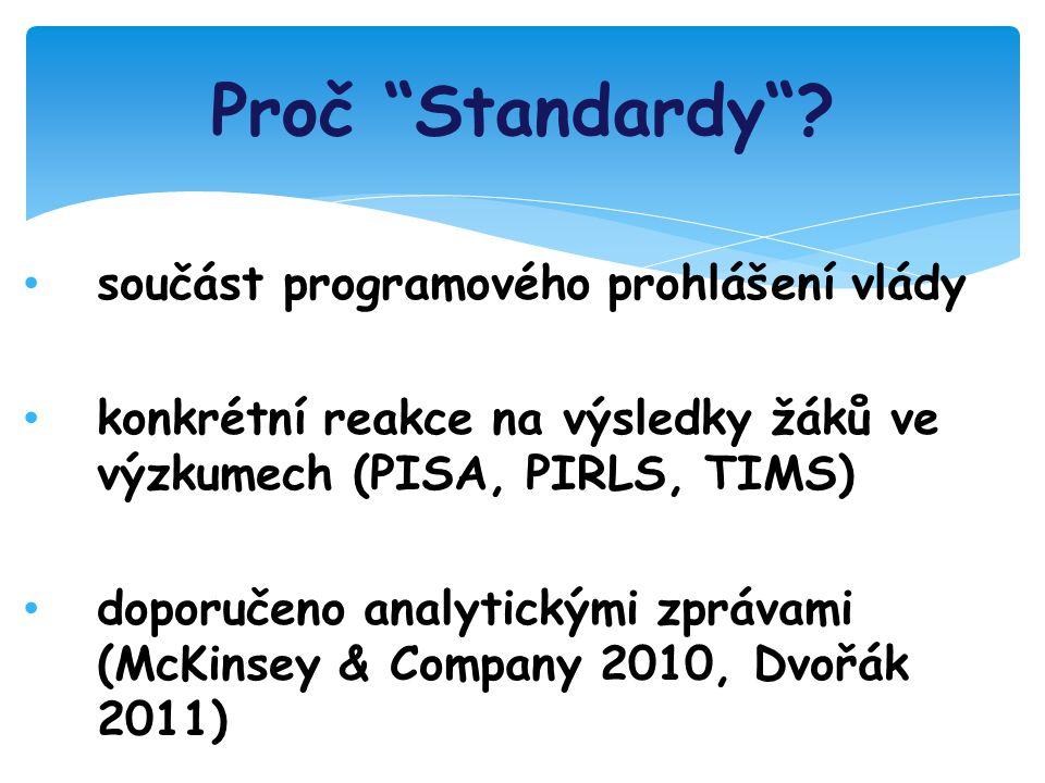 součást programového prohlášení vlády konkrétní reakce na výsledky žáků ve výzkumech (PISA, PIRLS, TIMS) doporučeno analytickými zprávami (McKinsey & Company 2010, Dvořák 2011) Proč Standardy