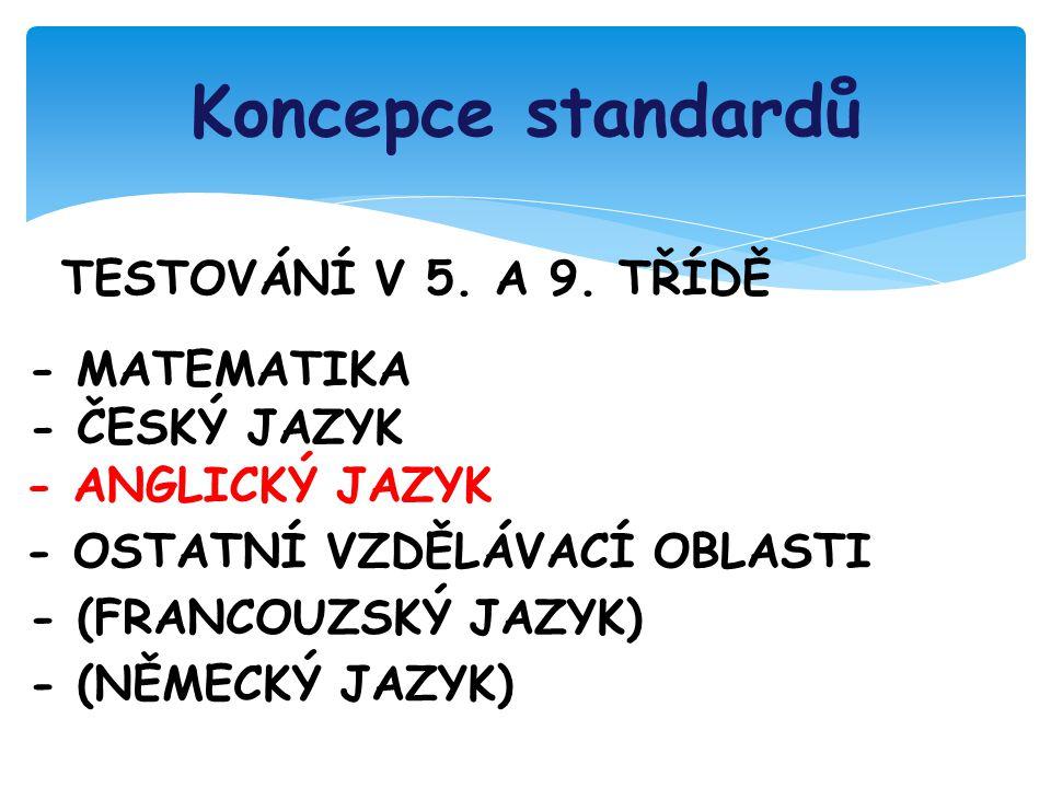 Koncepce standardů TESTOVÁNÍ V 5. A 9.