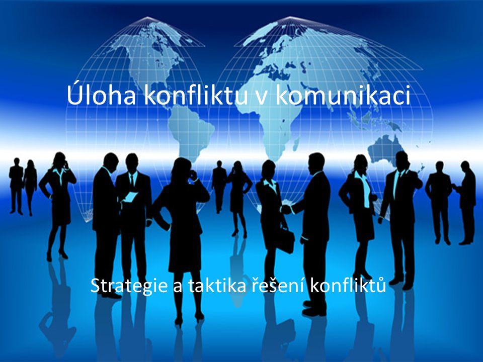 Proces mezilidské komunikace Úloha konfliktu v komunikaci Strategie a taktika řešení konfliktů