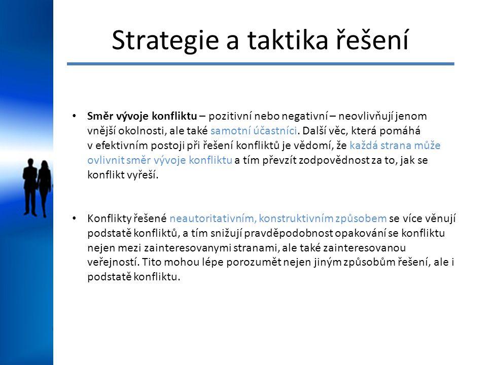 Strategie a taktika řešení Směr vývoje konfliktu – pozitivní nebo negativní – neovlivňují jenom vnější okolnosti, ale také samotní účastníci.