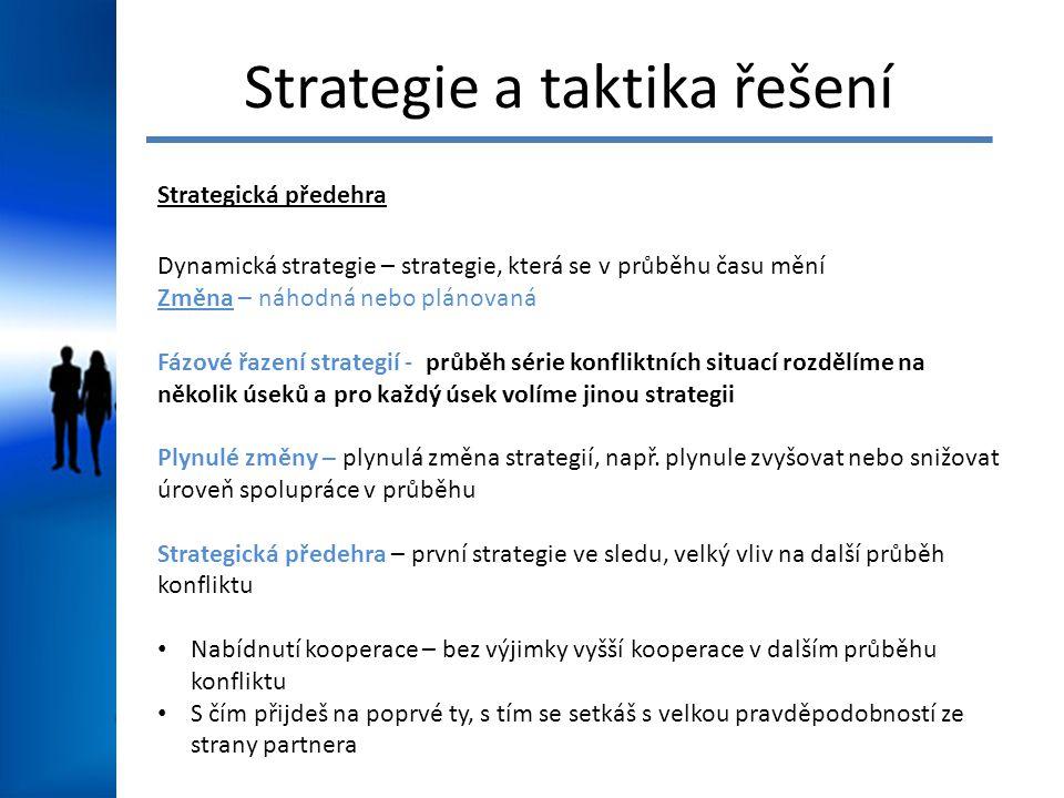 Strategie a taktika řešení Strategická předehra Dynamická strategie – strategie, která se v průběhu času mění Změna – náhodná nebo plánovaná Fázové řazení strategií - průběh série konfliktních situací rozdělíme na několik úseků a pro každý úsek volíme jinou strategii Plynulé změny – plynulá změna strategií, např.