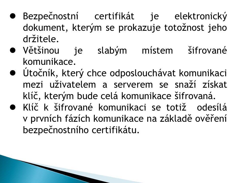 Bezpečnostní certifikát je elektronický dokument, kterým se prokazuje totožnost jeho držitele.