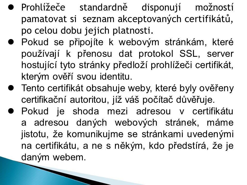 Prohlížeče standardně disponují možností pamatovat si seznam akceptovaných certifikátů, po celou dobu jejich platnosti.