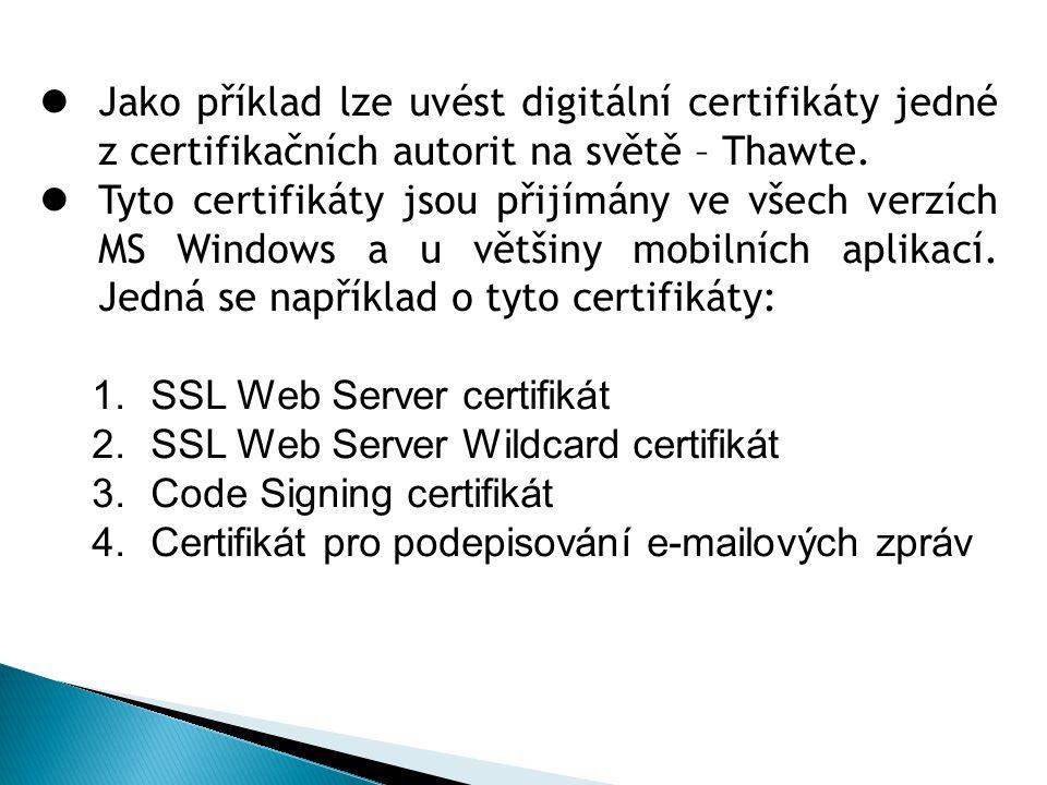 Jako příklad lze uvést digitální certifikáty jedné z certifikačních autorit na světě – Thawte.