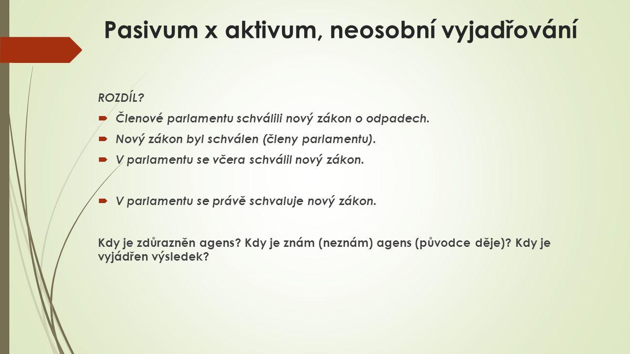 Pasivum x aktivum, neosobní vyjadřování ROZDÍL.