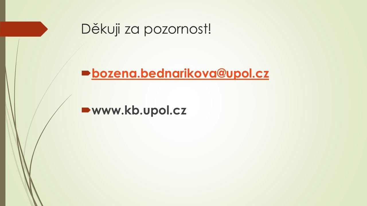 Děkuji za pozornost!  bozena.bednarikova@upol.cz bozena.bednarikova@upol.cz  www.kb.upol.cz