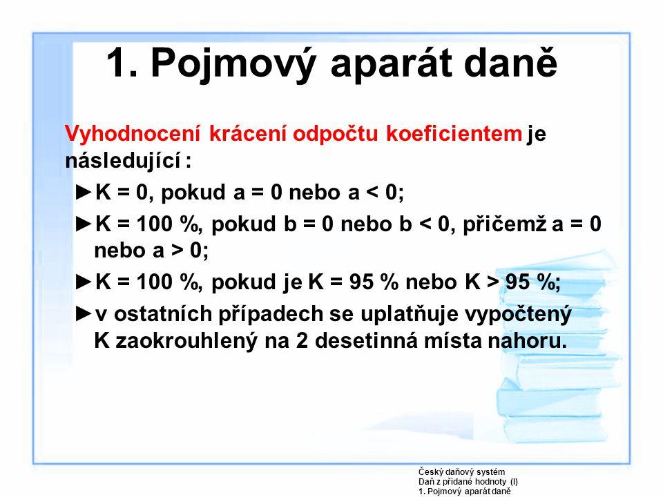 Vyhodnocení krácení odpočtu koeficientem je následující : ►K = 0, pokud a = 0 nebo a < 0; ►K = 100 %, pokud b = 0 nebo b 0; ►K = 100 %, pokud je K = 95 % nebo K > 95 %; ►v ostatních případech se uplatňuje vypočtený K zaokrouhlený na 2 desetinná místa nahoru.
