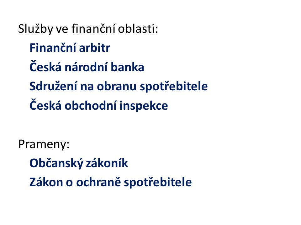 Služby ve finanční oblasti: Finanční arbitr Česká národní banka Sdružení na obranu spotřebitele Česká obchodní inspekce Prameny: Občanský zákoník Zákon o ochraně spotřebitele