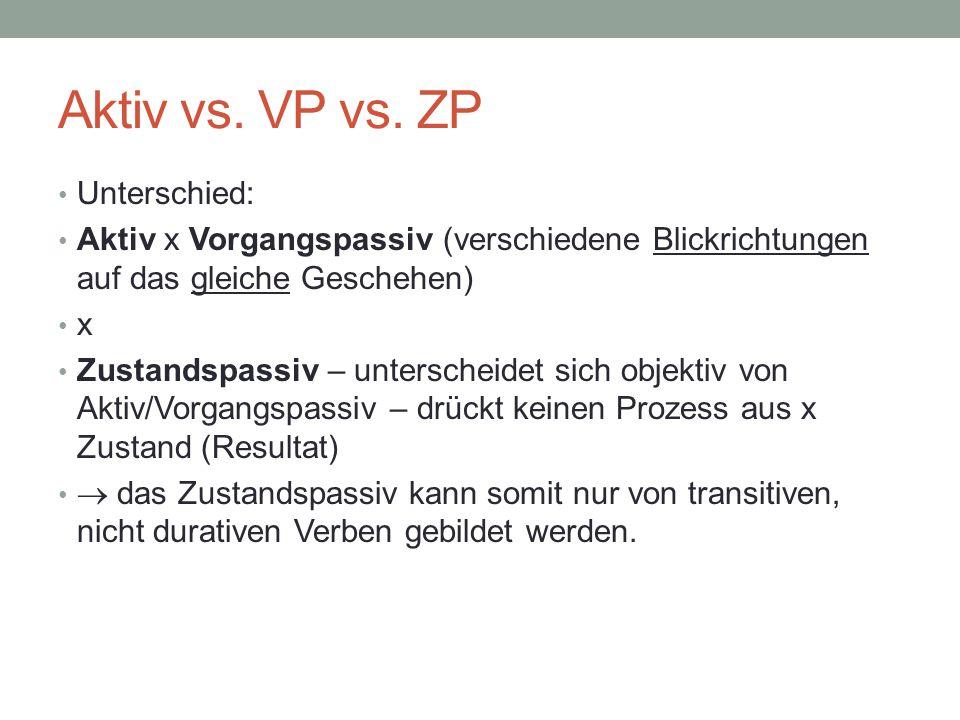 Aktiv vs. VP vs. ZP Unterschied: Aktiv x Vorgangspassiv (verschiedene Blickrichtungen auf das gleiche Geschehen) x Zustandspassiv – unterscheidet sich