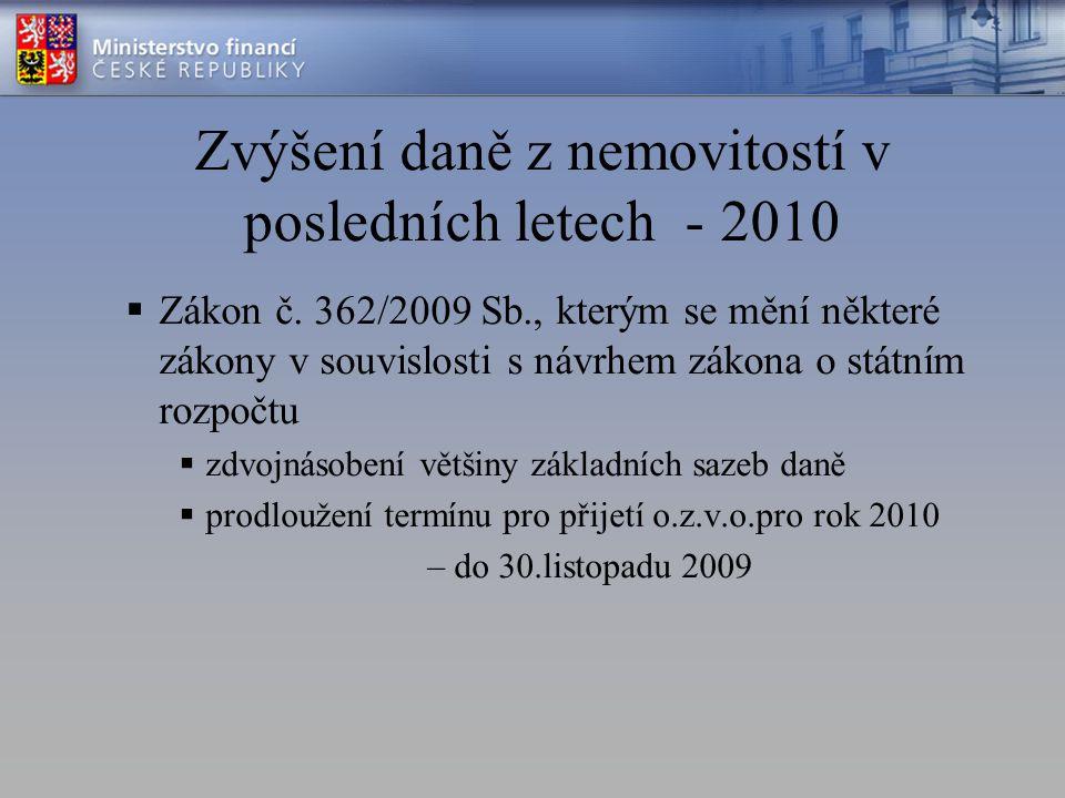 Zvýšení daně z nemovitostí v posledních letech - 2010  Zákon č.