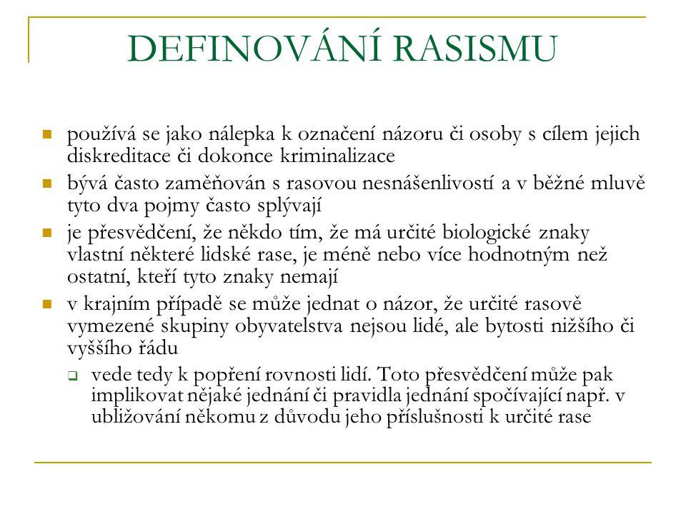 DEFINOVÁNÍ RASISMU používá se jako nálepka k označení názoru či osoby s cílem jejich diskreditace či dokonce kriminalizace bývá často zaměňován s raso