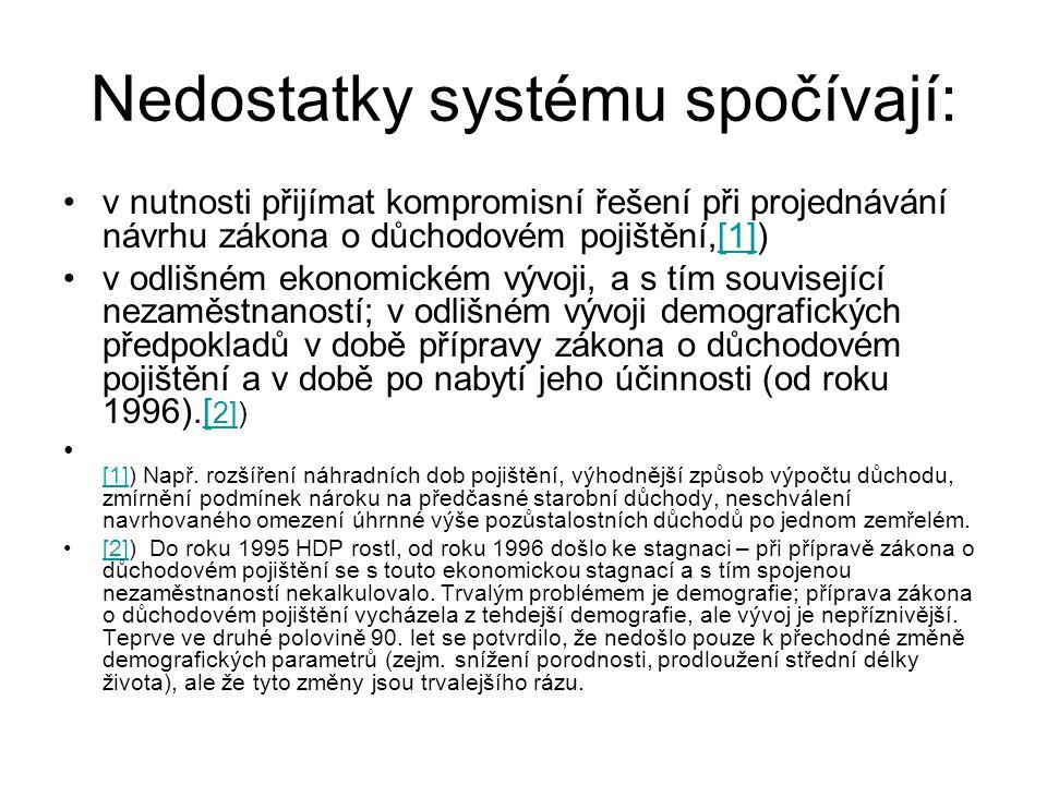 Nedostatky systému spočívají: v nutnosti přijímat kompromisní řešení při projednávání návrhu zákona o důchodovém pojištění,[1])[1] v odlišném ekonomic