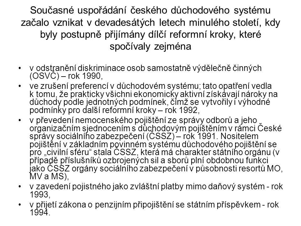 Současné uspořádání českého důchodového systému začalo vznikat v devadesátých letech minulého století, kdy byly postupně přijímány dílčí reformní krok