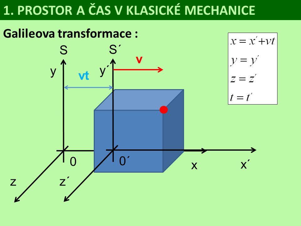 S 0 y z x Galileova transformace : 1. PROSTOR A ČAS V KLASICKÉ MECHANICE S´ 0´ y´ z´ x´ v vt