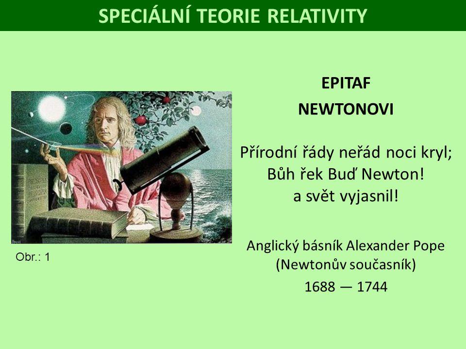 SPECIÁLNÍ TEORIE RELATIVITY EPITAF NEWTONOVI Přírodní řády neřád noci kryl; Bůh řek Buď Newton! a svět vyjasnil! Anglický básník Alexander Pope (Newto