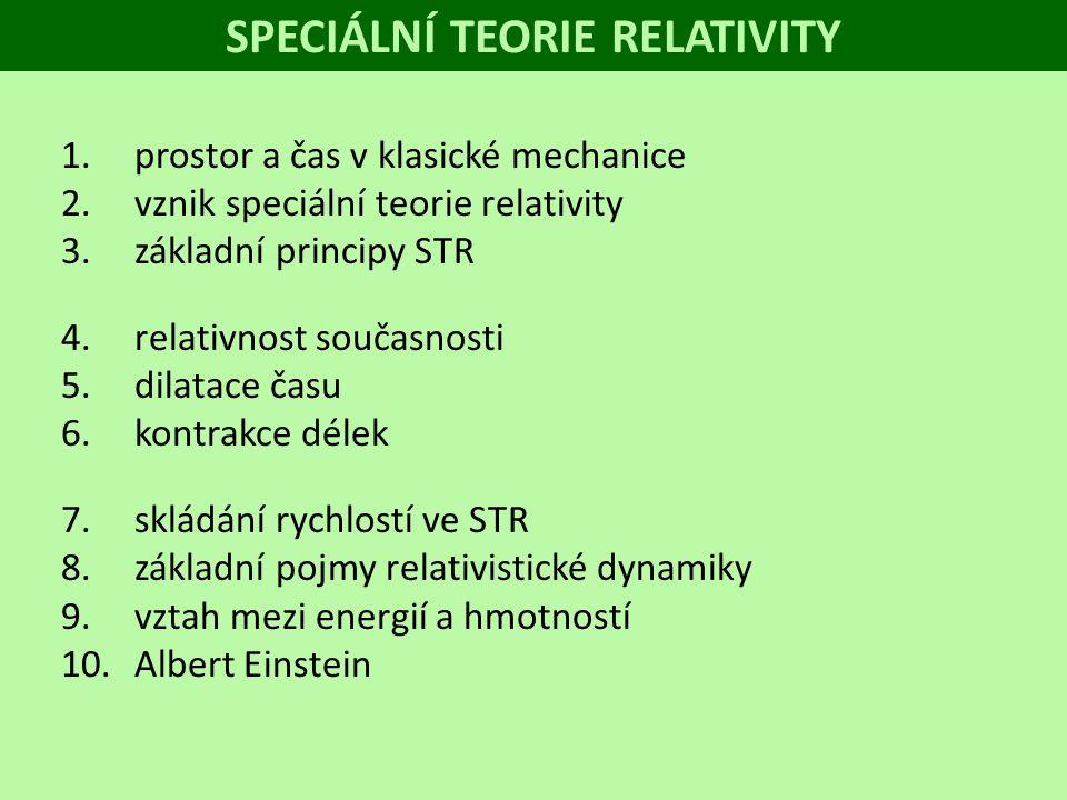 1.prostor a čas v klasické mechanice 2.vznik speciální teorie relativity 3.základní principy STR 4.relativnost současnosti 5.dilatace času 6.kontrakce