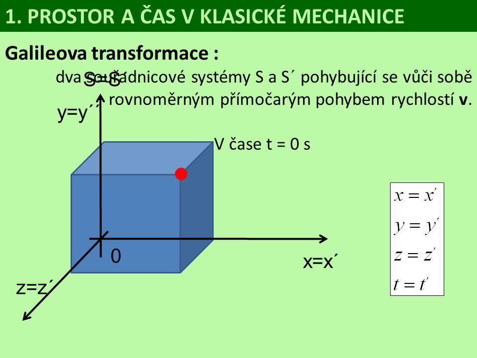 Galileova transformace : dva souřadnicové systémy S a S´ pohybující se vůči sobě rovnoměrným přímočarým pohybem rychlostí v. V čase t = 0 s 1. PROSTOR