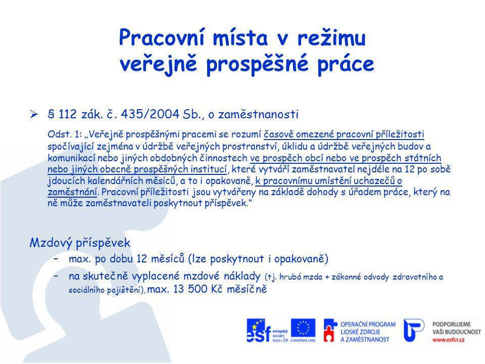 Pracovní místa v režimu veřejně prospěšné práce  § 112 zák.