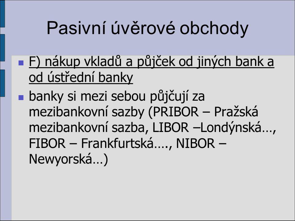 Pasivní úvěrové obchody F) nákup vkladů a půjček od jiných bank a od ústřední banky banky si mezi sebou půjčují za mezibankovní sazby (PRIBOR – Pražská mezibankovní sazba, LIBOR –Londýnská…, FIBOR – Frankfurtská…., NIBOR – Newyorská…)