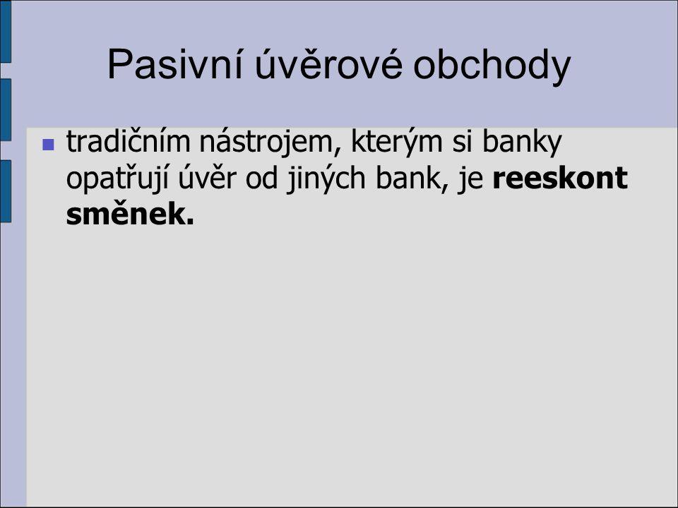 Pasivní úvěrové obchody tradičním nástrojem, kterým si banky opatřují úvěr od jiných bank, je reeskont směnek.