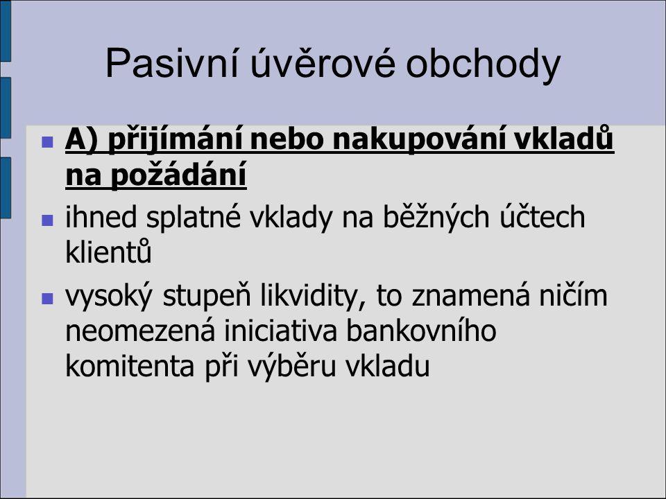 Aktivní úvěrové obchody Podle zajištění úvěru: nekryté úvěry (tj.