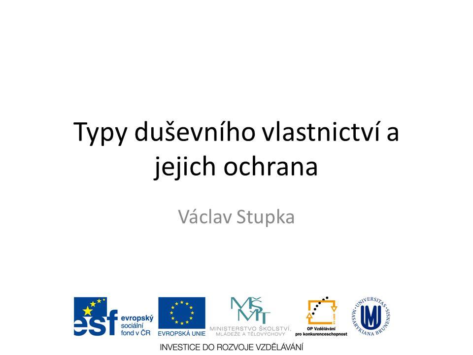 Typy duševního vlastnictví a jejich ochrana Václav Stupka