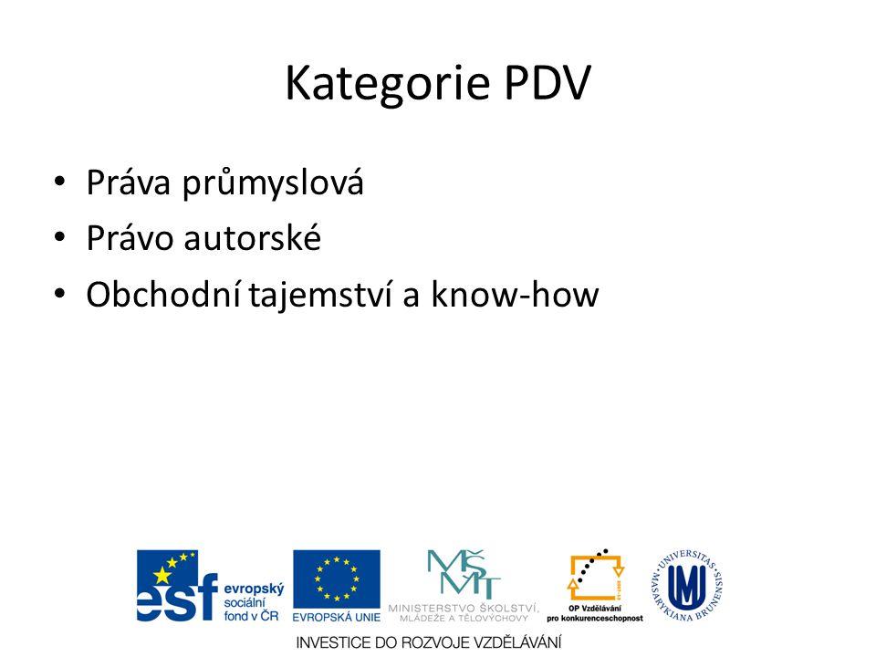 Kategorie PDV Práva průmyslová Právo autorské Obchodní tajemství a know-how