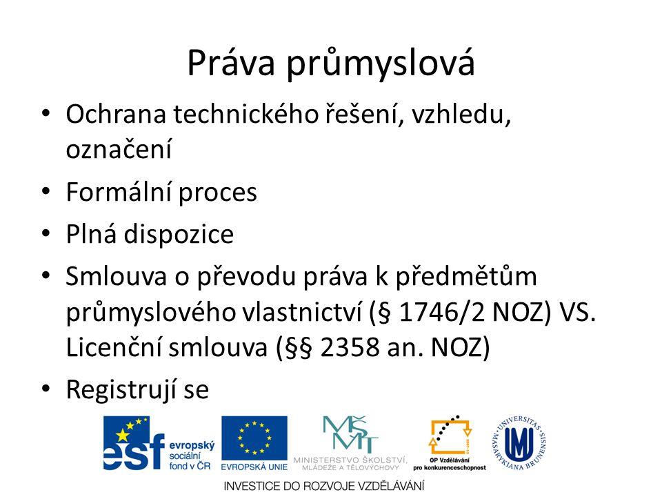 Ochrana technického řešení, vzhledu, označení Formální proces Plná dispozice Smlouva o převodu práva k předmětům průmyslového vlastnictví (§ 1746/2 NO