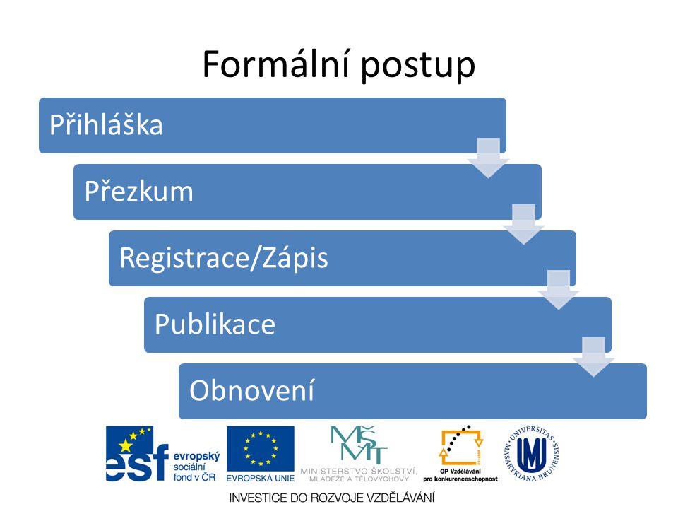 Formální postup PřihláškaPřezkumRegistrace/ZápisPublikaceObnovení