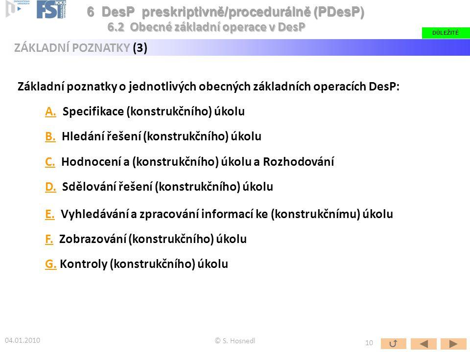 Základní poznatky o jednotlivých obecných základních operacích DesP: A.A. Specifikace (konstrukčního) úkolu B.B. Hledání řešení (konstrukčního) úkolu