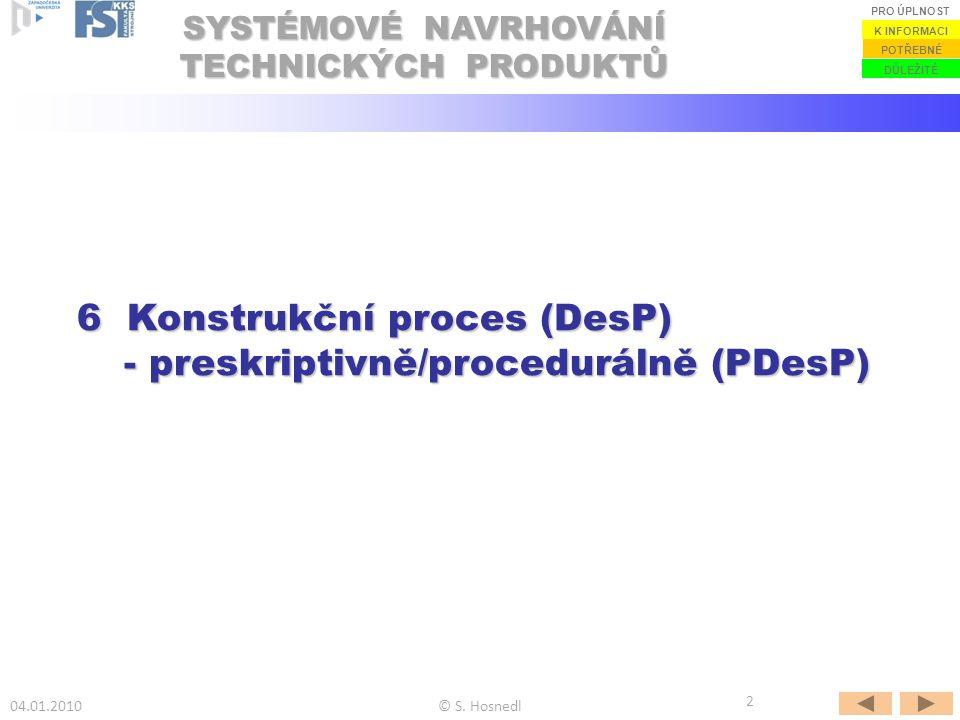 SYSTÉMOVÉ NAVRHOVÁNÍ TECHNICKÝCH PRODUKTŮ 04.01.2010© S. Hosnedl DŮLEŽITÉ POTŘEBNÉ K INFORMACI PRO ÚPLNOST 2 6 Konstrukční proces (DesP) - preskriptiv