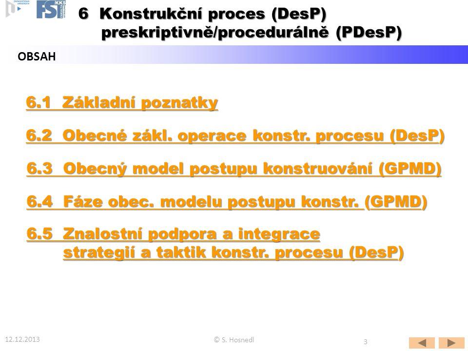6.1 Základní poznatky 6.1 Základní poznatky 6.2 Obecné zákl. operace konstr. procesu (DesP6.2 Obecné zákl. operace konstr. procesu (DesP) 6.2 Obecné z