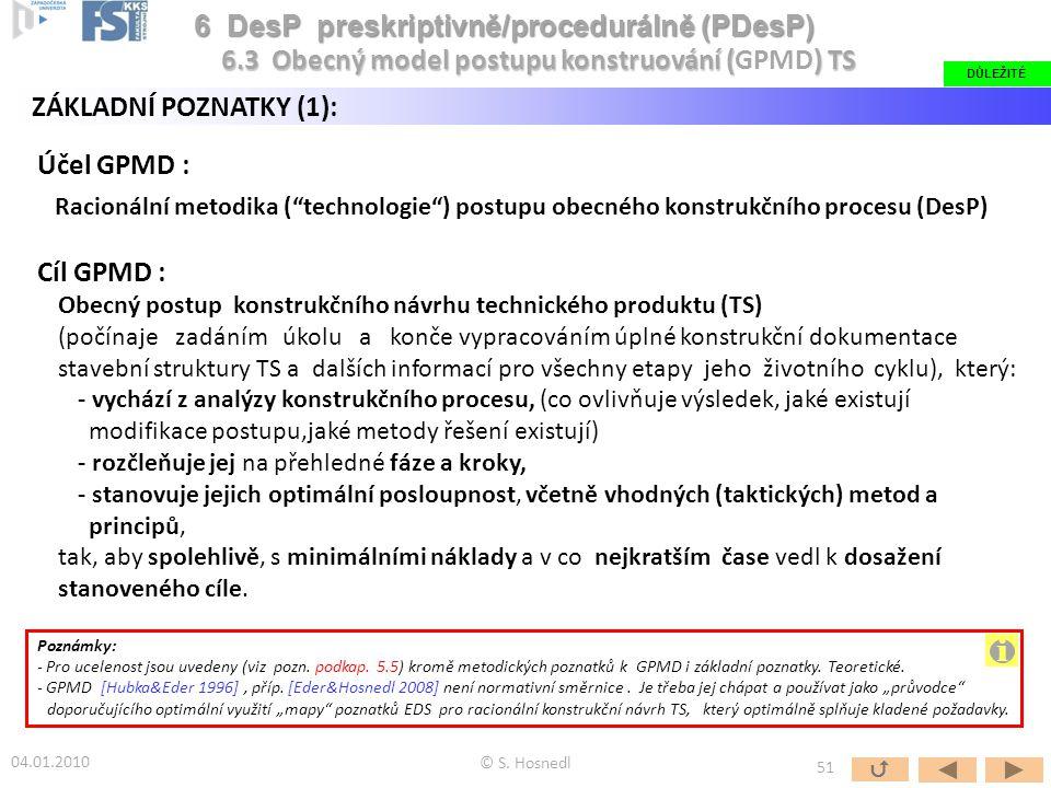 """Účel GPMD : Racionální metodika (""""technologie"""") postupu obecného konstrukčního procesu (DesP) Cíl GPMD : Obecný postup konstrukčního návrhu technickéh"""