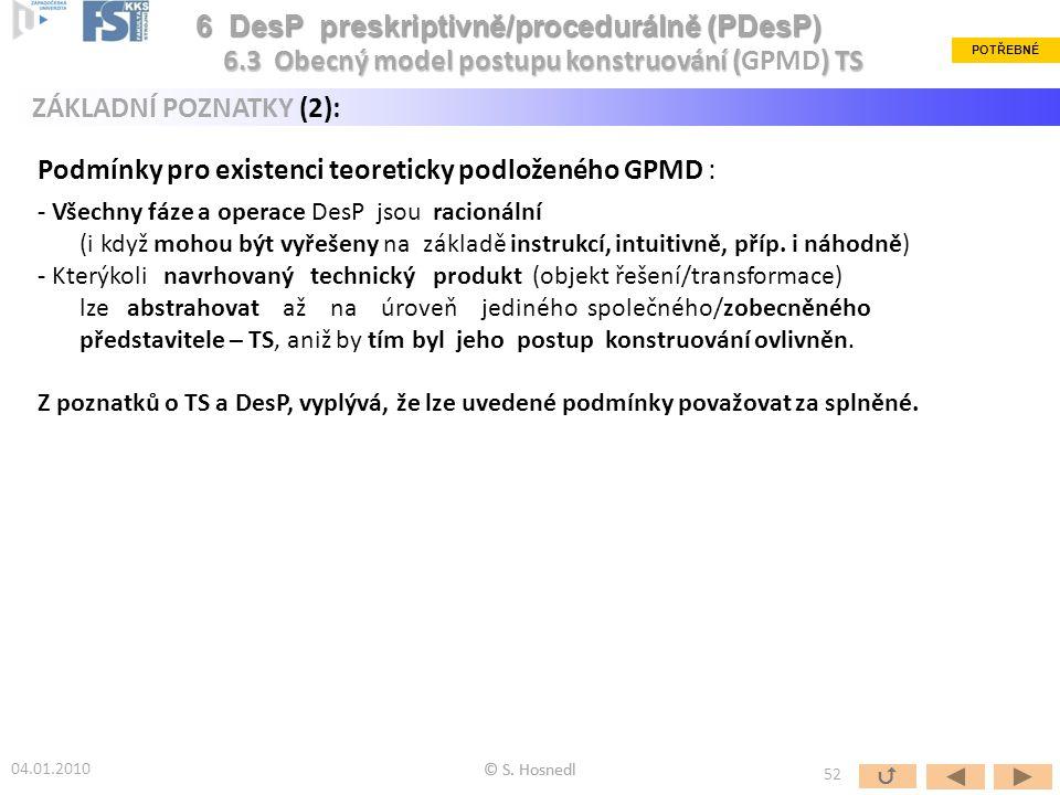 Podmínky pro existenci teoreticky podloženého GPMD : - Všechny fáze a operace DesP jsou racionální (i když mohou být vyřešeny na základě instrukcí, in